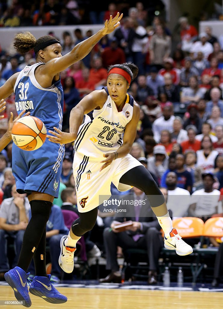 Briann January #20 of the Indiana Fever passes the ball against the Minnesota Lynx during Game Three of the 2015 WNBA Finals at Bankers Life Fieldhouse on October 9, 2015 in Indianapolis, Indiana.