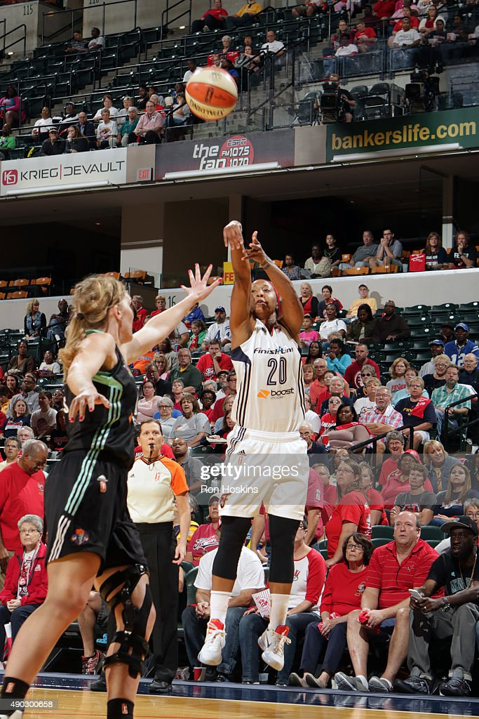 <a gi-track='captionPersonalityLinkClicked' href=/galleries/search?phrase=Briann+January&family=editorial&specificpeople=4530291 ng-click='$event.stopPropagation()'>Briann January</a> #20 of the Indiana Fever shoots the ball against the New York Liberty in game two of the WNBA Eastern Conference Finals at Bankers Life Fieldhouse on September 27, 2015 in Indianapolis, Indiana.