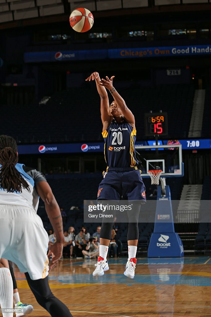 <a gi-track='captionPersonalityLinkClicked' href=/galleries/search?phrase=Briann+January&family=editorial&specificpeople=4530291 ng-click='$event.stopPropagation()'>Briann January</a> #20 of the Indiana Fever shoots the ball against the Chicago Sky during Game Three of the Eastern Conference Semifinals on September 21, 2015 at Allstate Arena in Chicago, Illinois.
