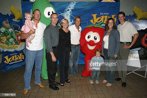 Brianna Adkins held by her father country singer Trace Adkins Larry the Cucumber Phil Vischer Lisa Vicher Christian Artist Michael W Smith Bob the...