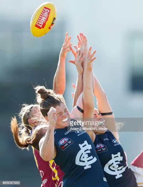 Brianna Davey and Rebecca Privitelli of the Blues compete for the ball during the 2017 AFLW Round 07 match between the Carlton Blues and the Brisbane...