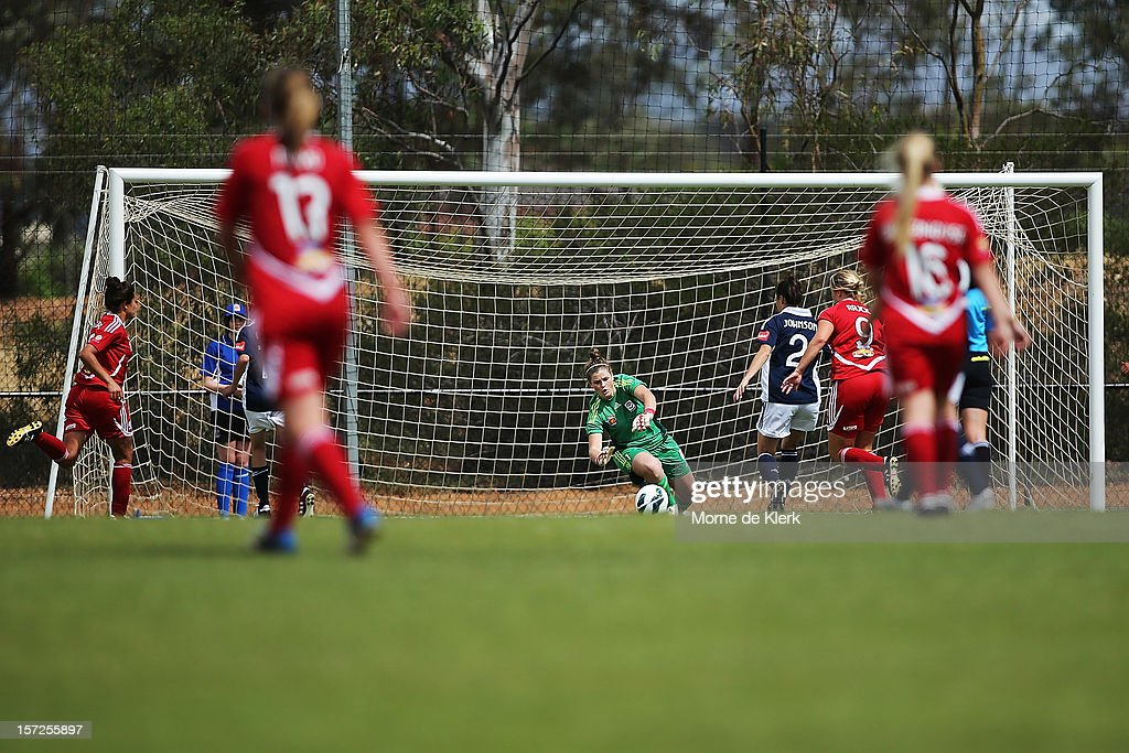 Brianna Davey of Melbourne makes a save during the round seven W-League match between Adelaide United and the Melbourne Victory at Burton Park on December 1, 2012 in Adelaide, Australia.