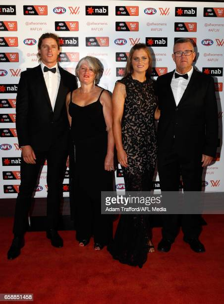 Brianna Davey of the Blues and family arrive during the The W Awards at the Peninsula on March 28 2017 in Melbourne Australia
