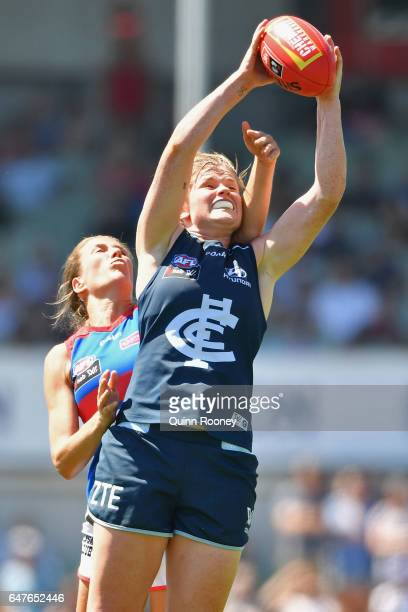 Brianna Davey of the Blues marks during the round five AFL Women's match between the Carlton Blues and the Western Bulldogs at Ikon Park on March 4...