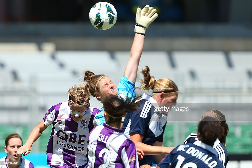 Brianna Davey of the Victory saves a shot on goal during the W-League Semi Final match between Perth Glory and Melbourne Victory at nib Stadium on January 20, 2013 in Perth, Australia.