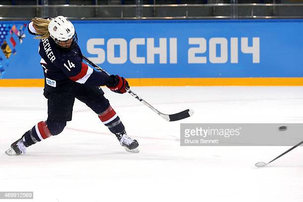 Brianna Decker of the United States shoots and scores in the third period against Sweden during the Women's Ice Hockey Playoffs Semifinal game on day...