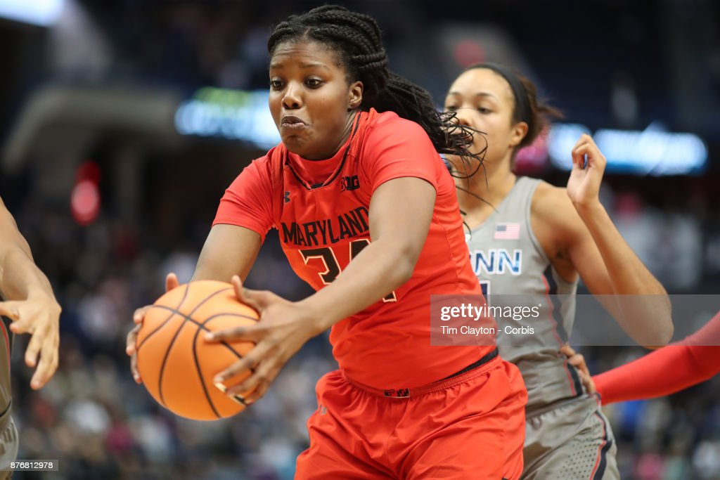 Brianna Fraser #34 of the Maryland Terrapins rebounds during the the UConn Huskies Vs Maryland Terrapins, NCAA Women's Basketball game at the XL Center, Hartford, Connecticut. November 19th, 2017