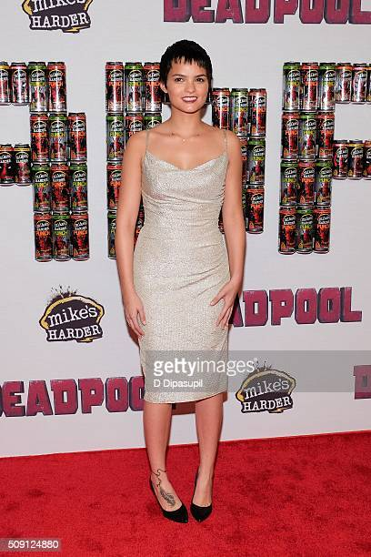 Brianna Hildebrand attends the 'Deadpool' fan event at AMC Empire Theatre on February 8 2016 in New York City