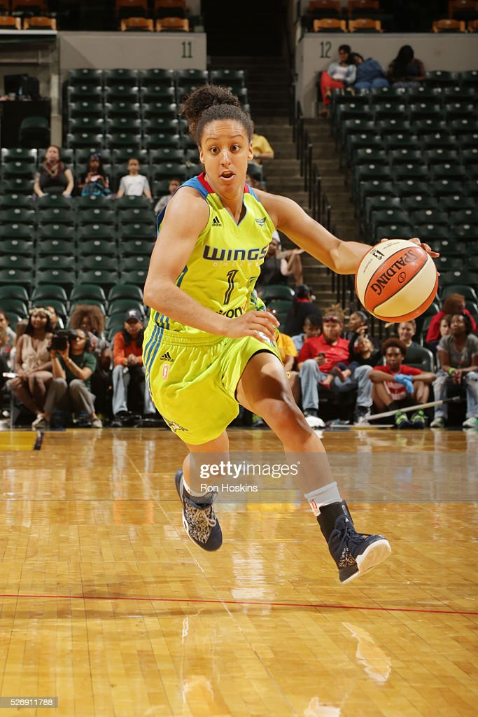 Brianna Kiesel #1 of Dallas Wings handles the ball against the Indiana Fever during a preseason game on May 1, 2016 at Bankers Life Fieldhouse in Indianapolis, Indiana.