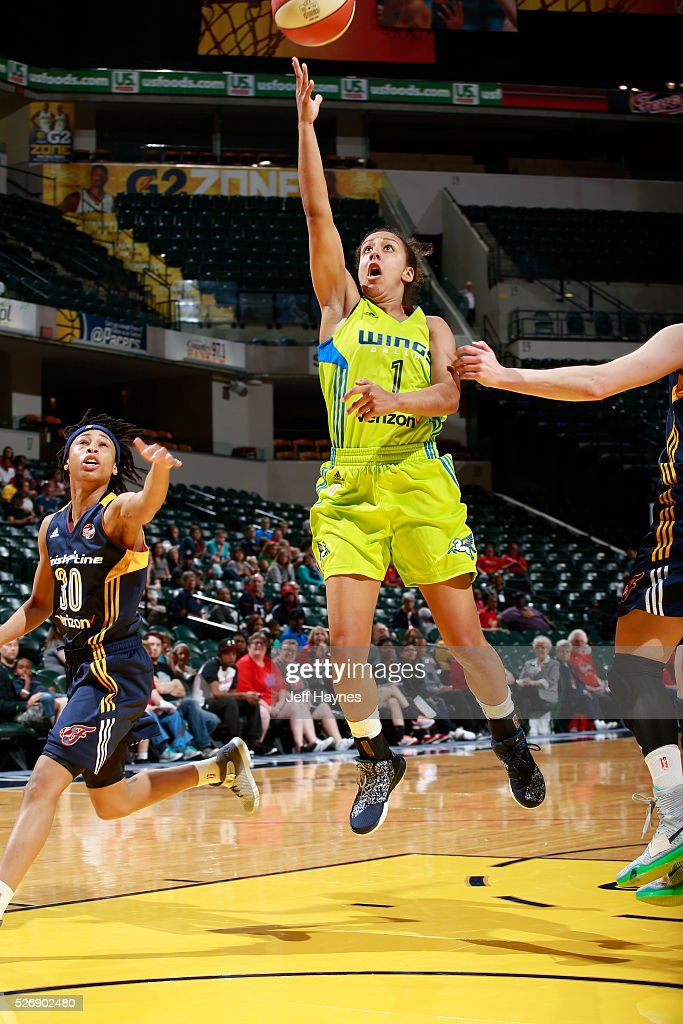 Brianna Kiesel #1 of Dallas Wings shoots the ball against the Indiana Fever during a preseason game on May 1, 2016 at Bankers Life Fieldhouse in Indianapolis, Indiana.