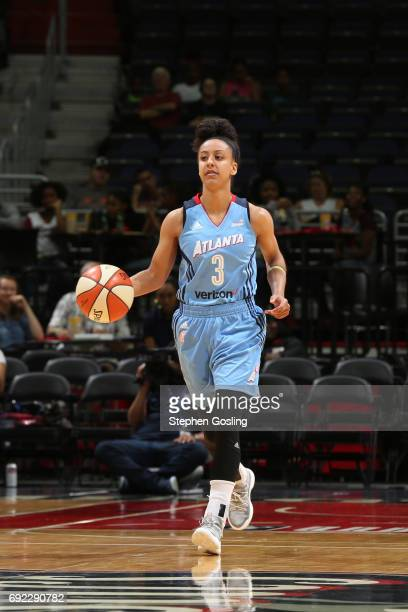 Brianna Kiesel of the Atlanta Dream brings the ball up court against the Washington Mystics on June 4 2017 at Verizon Center in Washington DC NOTE TO...