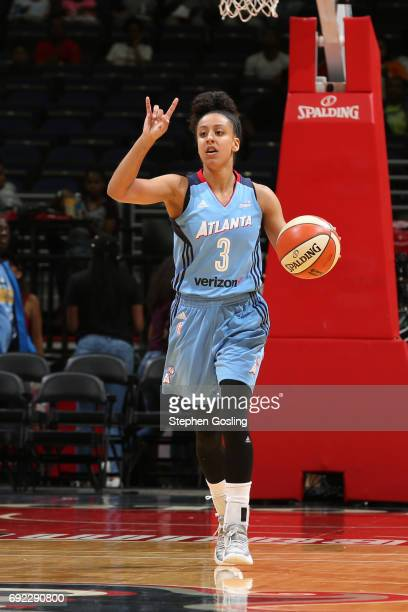 Brianna Kiesel of the Atlanta Dream dribbles the ball against the Washington Mystics on June 4 2017 at Verizon Center in Washington DC NOTE TO USER...