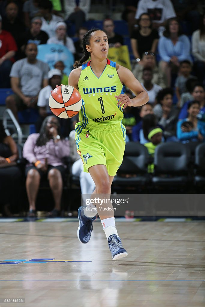 Brianna Kiesel #1 of the Dallas Wings handles the ball against the Chicago Sky on May 29, 2016 at College Park Center in Arlington, Texas.