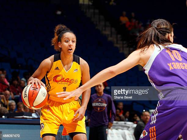 Brianna Kiesel of the Tulsa Shock handles the ball against the Phoenix Mercury on September 13 2015 at the BOK Center in Tulsa Oklahoma NOTE TO USER...
