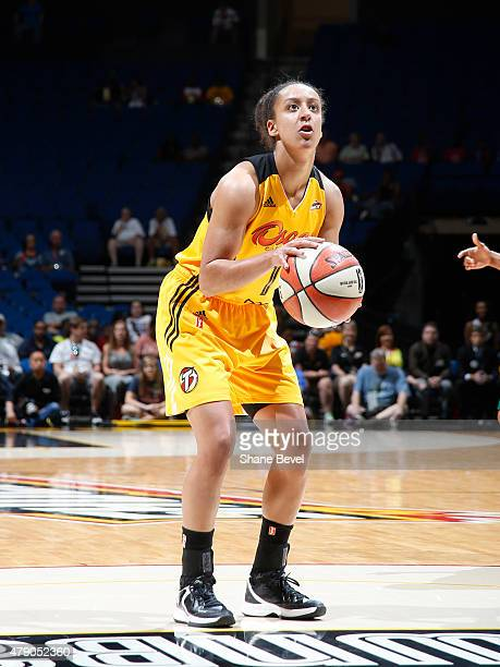 Brianna Kiesel of the Tulsa Shock prepares to shoot a free throw against the New York Liberty on June 28 2015 at the BOK Center in Tulsa Oklahoma...
