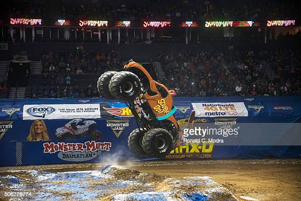 Brianna Mahon drives ScoobyDoo during Monster Jam competition at Bridgestone Arena on January 10 2016 in Nashville Tennessee