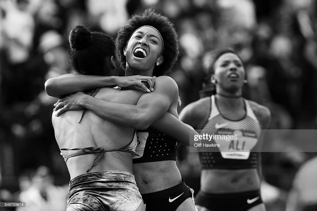 Brianna Rollins and Kristi Castlin celebrate after the Women's 100 Meter Hurdles Final during the 2016 U.S. Olympic Track & Field Team Trials at Hayward Field on July 8, 2016 in Eugene, Oregon.