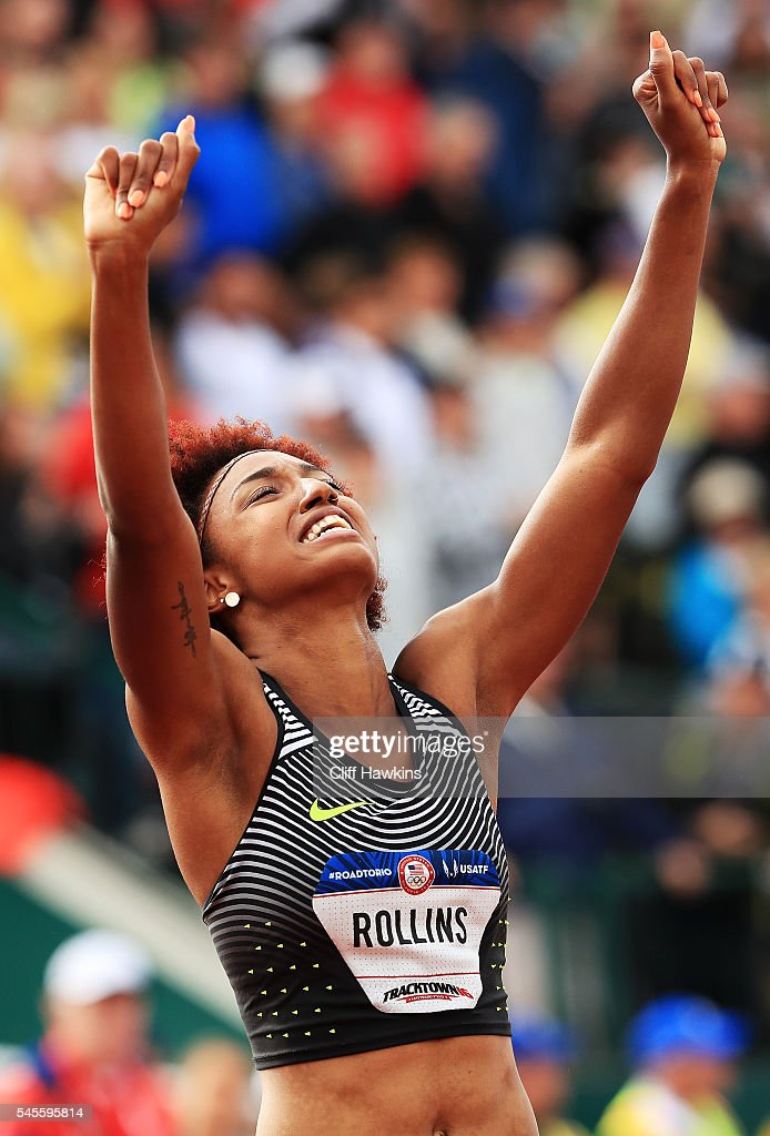 Brianna Rollins celebrates after placing first in the Women's 100 Meter Hurdles Final during the 2016 U.S. Olympic Track & Field Team Trials at Hayward Field on July 8, 2016 in Eugene, Oregon.
