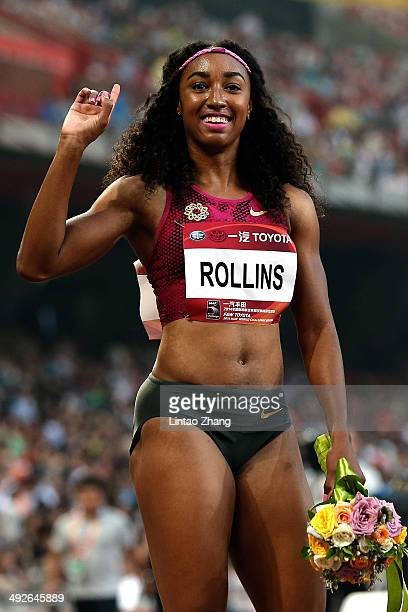 Brianna Rollins of the United States celebrates winning the Women's 100 metres hurdles of 2014 IAAF Beijing Challenge at National Sports Center on...