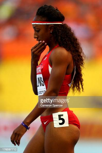 Brianna Rollins of the United States competes in the Women's 100 metres hurdles heats during Day Seven of the 14th IAAF World Athletics Championships...