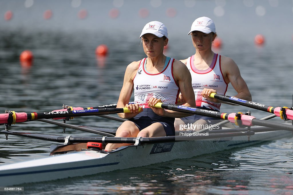 Brianna Stubbs (R) and Eleanor Piggott of Great Britain compete in the Lightweight Women's Double Sculls heats during day 1 of the 2016 World Rowing Cup II at Rotsee on May 27, 2016 in Lucerne, Switzerland.