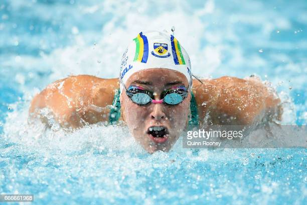 Brianna Throssell of Australia competes in the Women's 100m Butterfly during the 2017 Australian Swimming Championships at the Sleeman Sports Complex...