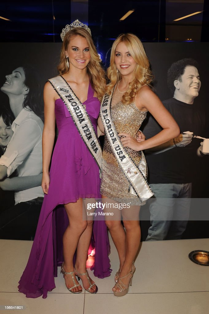 Brianne Bailey, Miss Florida Teen USA, and Michelle Aguirre, Miss Florida USA, attend the Zenith Watches Best Buddies Miami Gala at Marlins Park on November 16, 2012 in Miami, Florida.