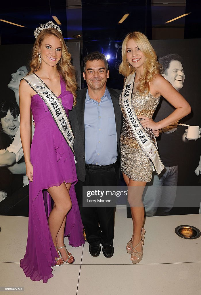Brianne Bailey, Miss Florida Teen USA, Grant Gravitz, and Michelle Aguirre, Miss Florida USA, attend the Zenith Watches Best Buddies Miami Gala at Marlins Park on November 16, 2012 in Miami, Florida.