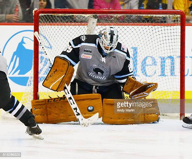 Brianne McLaughlin of the Buffalo Beauts makes a save against the Boston Pride during Game 2 of the league's inaugural championship series at the New...