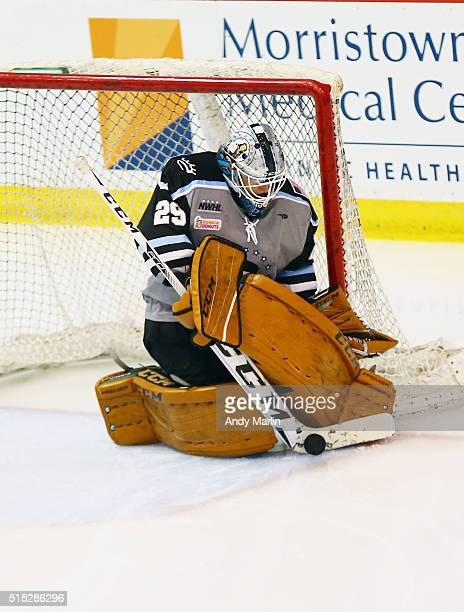 Brianne McLaughlin of the Buffalo Beauts makes a stick save against the Boston Pride during Game 2 of the league's inaugural championship series at...