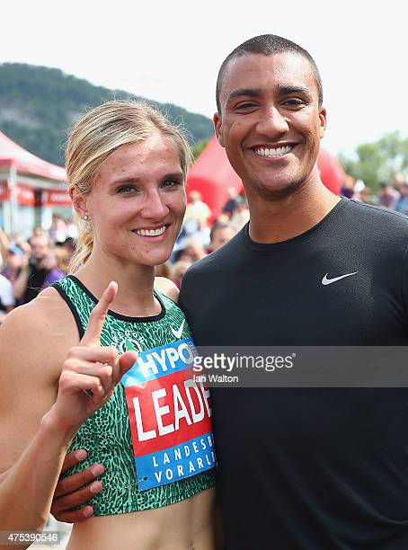 Brianne Theisen Eaton of Canada celebrates with her husband US Olympian Ashton Eaton after the 800 metres during the women's heptathlon during the...