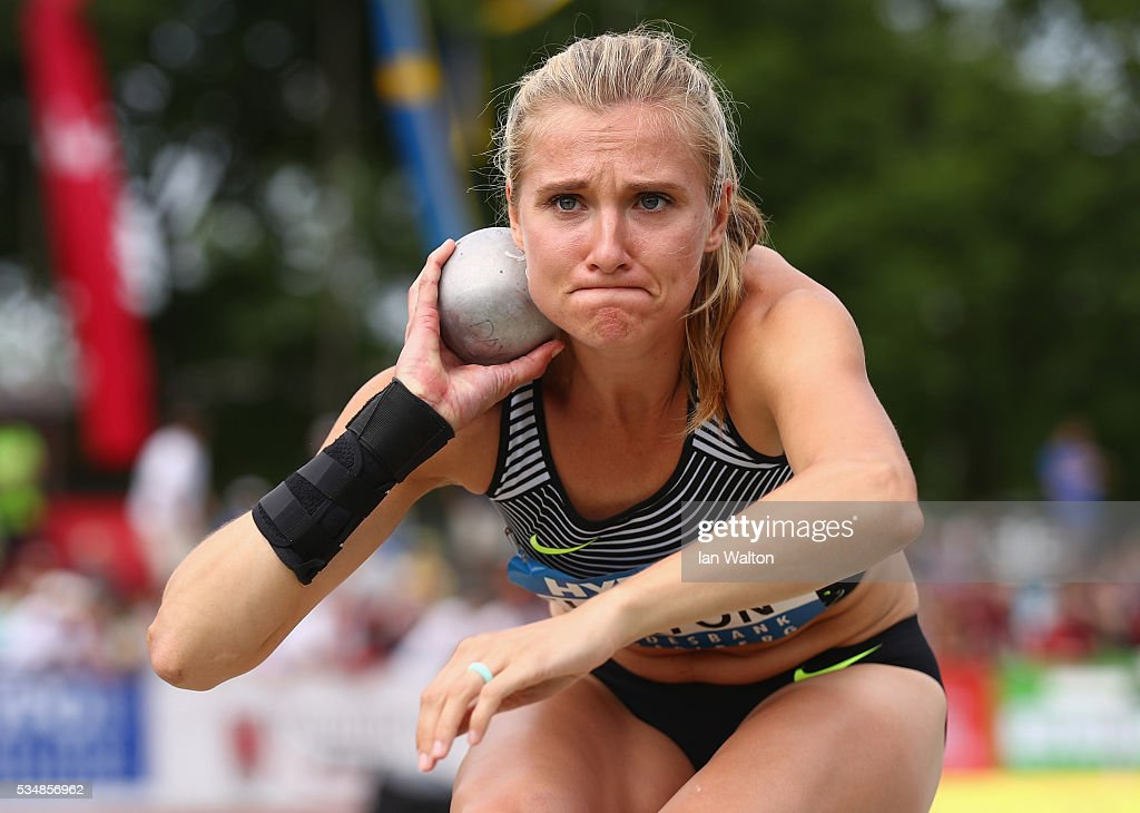 <a gi-track='captionPersonalityLinkClicked' href=/galleries/search?phrase=Brianne+Theisen-Eaton&family=editorial&specificpeople=11248599 ng-click='$event.stopPropagation()'>Brianne Theisen-Eaton</a> of Canada in action in the Women's Heptathlon shot put during the Hypomeeting Gotzis 2016 at the Mosle Stadiom on May 28, 2016 in Gotzis, Austria.