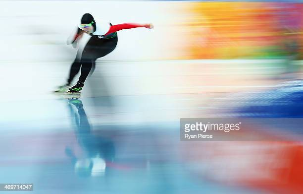 Brianne Tutt of Canada competes during the Speed Skating Women's 1500m on day nine of the Sochi 2014 Winter Olympics at Adler Arena Skating Center on...