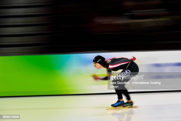 Brianne Tutt of Canada competes in the ladies 3000 meter final during day 3 of the ISU World Cup Speed Skating event on December 10 2017 in Salt Lake...