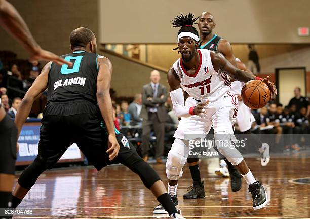 Briante Weber from the Sioux Falls Skyforce handles the ball against the Greensboro Swarm at the Sanford Pentagon November 29 2016 in Sioux Falls...