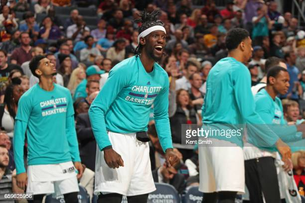 Briante Weber of the Charlotte Hornets celebrates during a game against the Cleveland Cavaliers on March 24 2017 at the Spectrum Center in Charlotte...