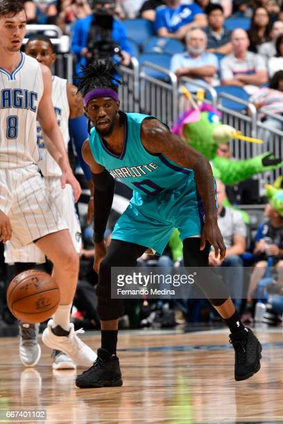 Briante Weber of the Charlotte Hornets defends against the Orlando Magic on March 22 2017 at Amway Center in Orlando Florida NOTE TO USER User...