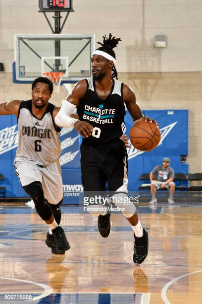 Briante Weber of the Charlotte Hornets dribbles the ball up court against the Orlando Magic during the Mountain Dew Orlando Pro Summer League on July...