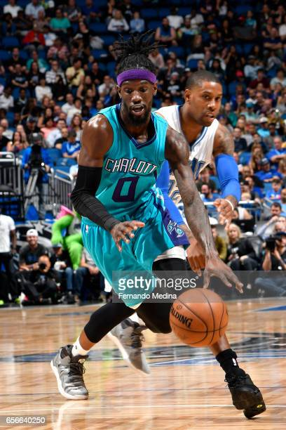 Briante Weber of the Charlotte Hornets drives to the basket against the Orlando Magic on March 22 2017 at Amway Center in Orlando Florida NOTE TO...