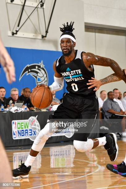 Briante Weber of the Charlotte Hornets drives to the basket against the Orlando Magic during the Mountain Dew Orlando Pro Summer League on July 6...