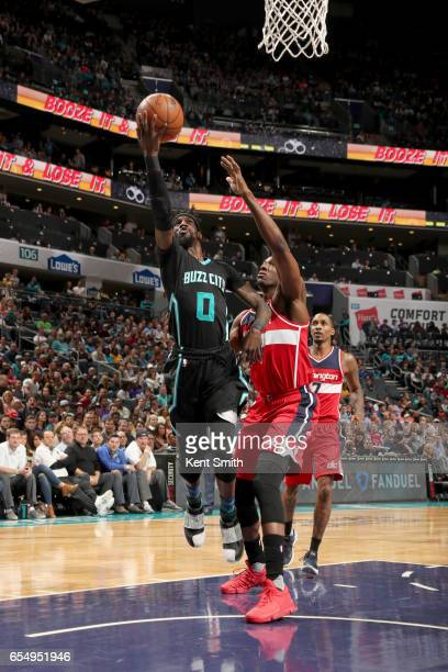 Briante Weber of the Charlotte Hornets goes to the basket against the Washington Wizards on March 18 2017 at Spectrum Center in Charlotte North...