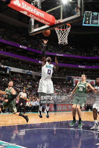 Briante Weber of the Charlotte Hornets goes to the basket against the Milwaukee Bucks on March 28 2017 at Spectrum Center in Charlotte North Carolina...