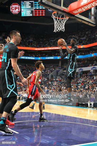 Briante Weber of the Charlotte Hornets grabs the rebound against the Washington Wizards during the game on March 18 2017 at Spectrum Center in...