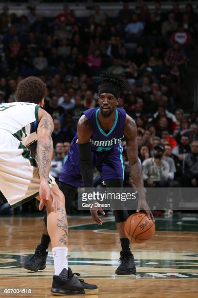 Briante Weber of the Charlotte Hornets handles the ball against the Milwaukee Bucks on April 10 2017 at the BMO Harris Bradley Center in Milwaukee...