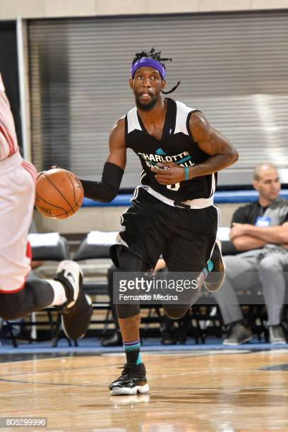 Briante Weber of the Charlotte Hornets handles the ball against the Miami Heat during the 2017 Summer League on July 1 2017 at Amway Center in...