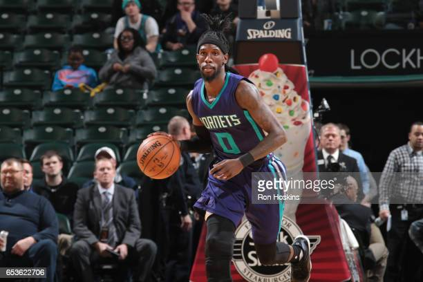 Briante Weber of the Charlotte Hornets handles the ball during a game against the Indiana Pacers on March 15 2017 at Bankers Life Fieldhouse in...