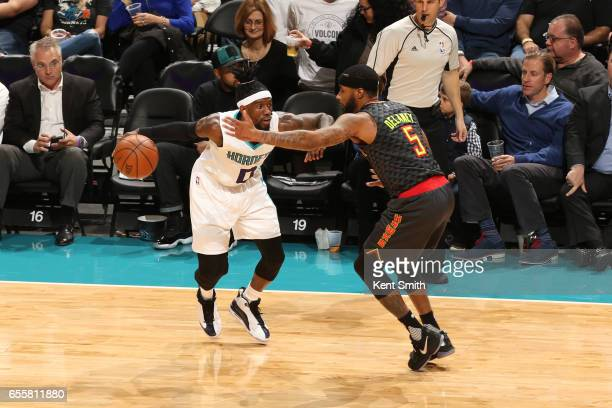 Briante Weber of the Charlotte Hornets handles the ball during a game against the Atlanta Hawks on March 20 2017 at Spectrum Center in Charlotte...