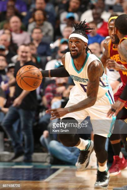 Briante Weber of the Charlotte Hornets handles the ball during a game against the Cleveland Cavaliers on March 24 2017 at the Spectrum Center in...