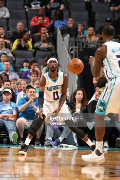 Briante Weber of the Charlotte Hornets passes the ball against the Phoenix Suns on March 26 2017 at Spectrum Center in Charlotte North Carolina NOTE...