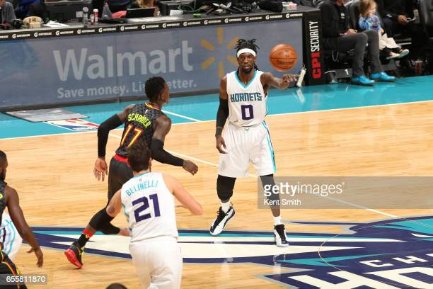 Briante Weber of the Charlotte Hornets passes the ball during a game against the Atlanta Hawks on March 20 2017 at Spectrum Center in Charlotte North...